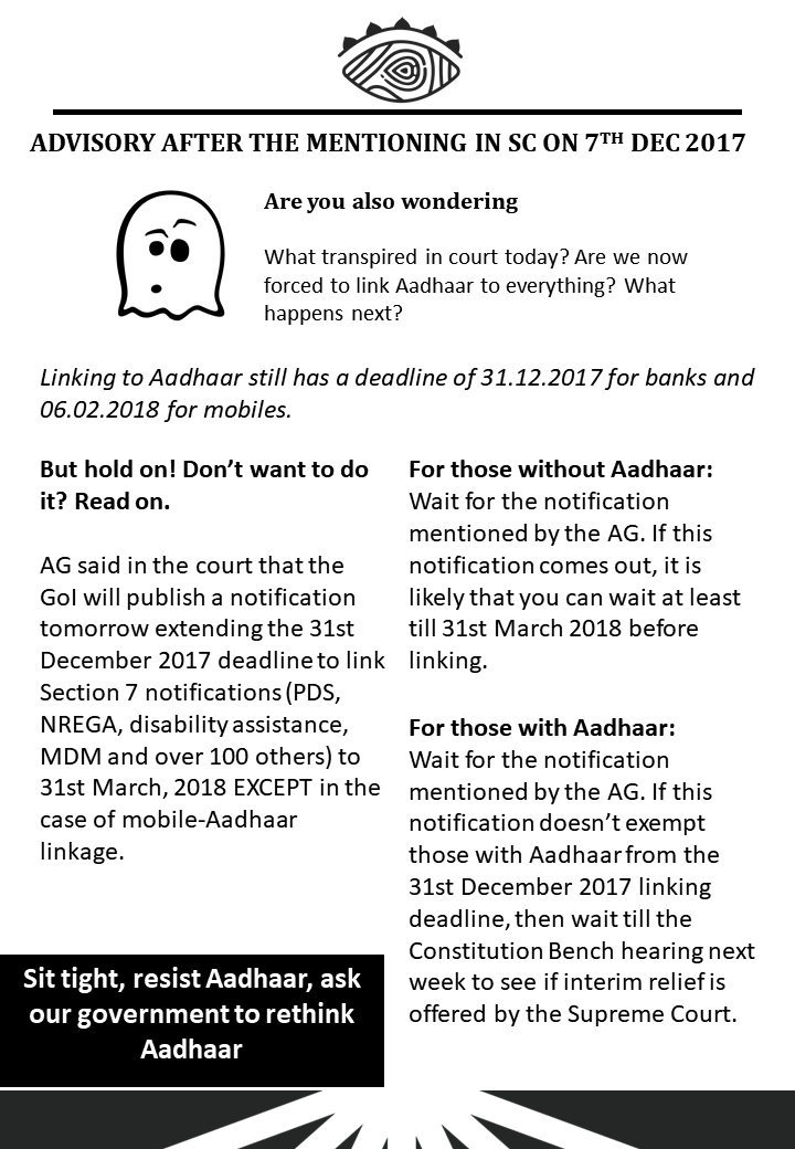 Advisory after the Mentioning in SC on 7TH DEC 2017