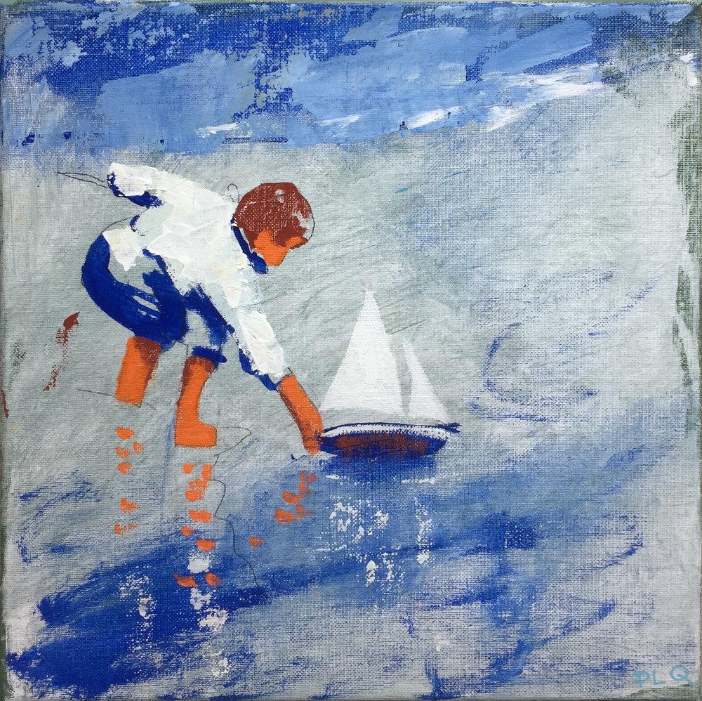Watercolour boy 2017, 30 x 30 cm, oil on canvas