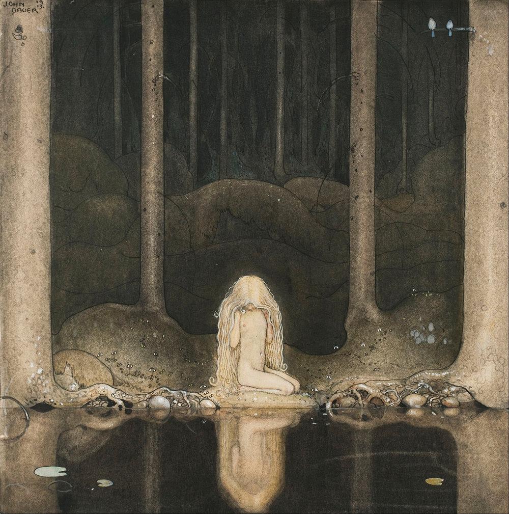 John_Bauer_-_Princess_Tuvstarr_gazing_down_into_the_dark_waters_of_the_forest_tarn._-_Google_Art_Project.jpg