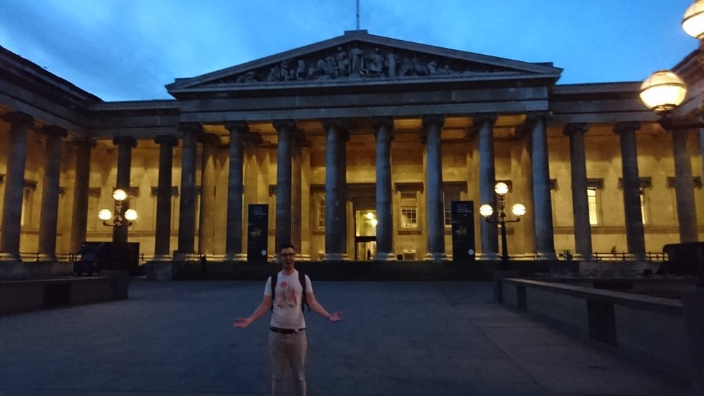 Tom catching his breath after a hasty jaunt across London to the BAFTA Crew Assassin's Creed talk at the British Museum (after someone got the wrong location!)