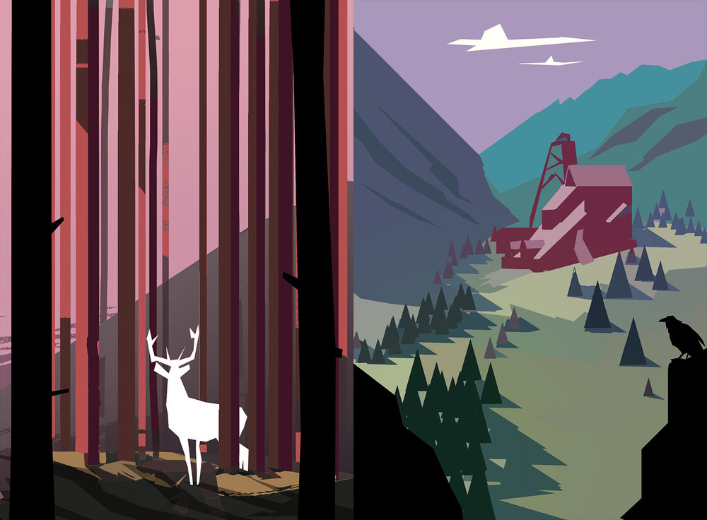 Early tests for Röki exploring use of flat colour and simplified shape language.