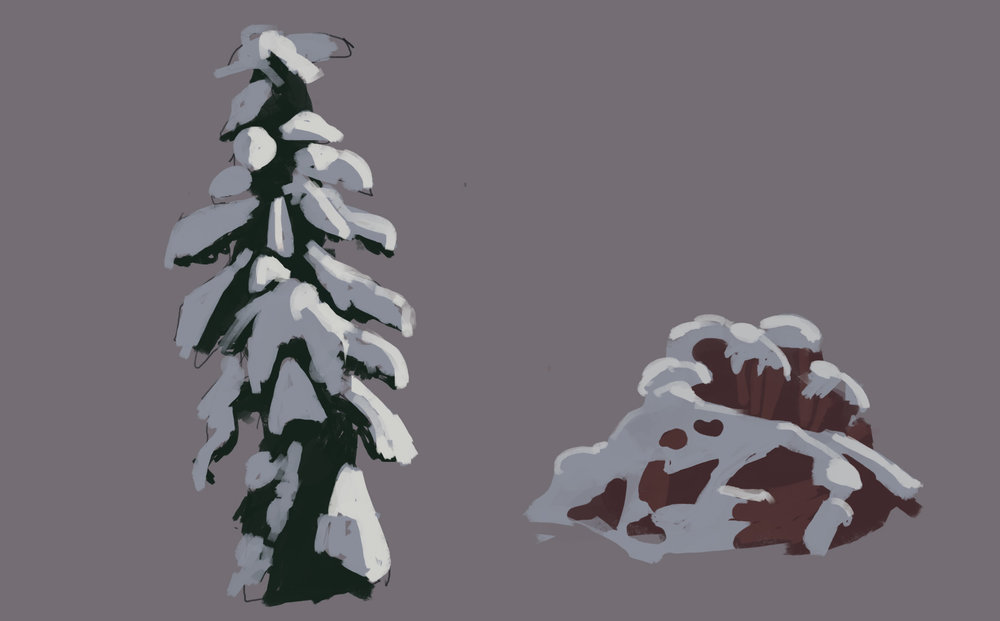 Super quick snowy tree and rock studies