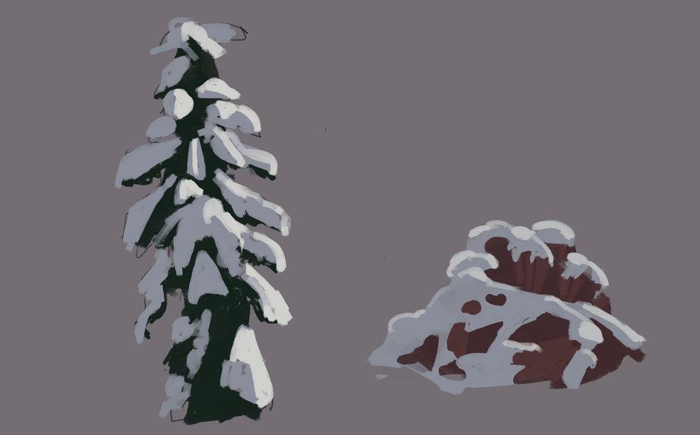 Super quick snowy tree and rock studies