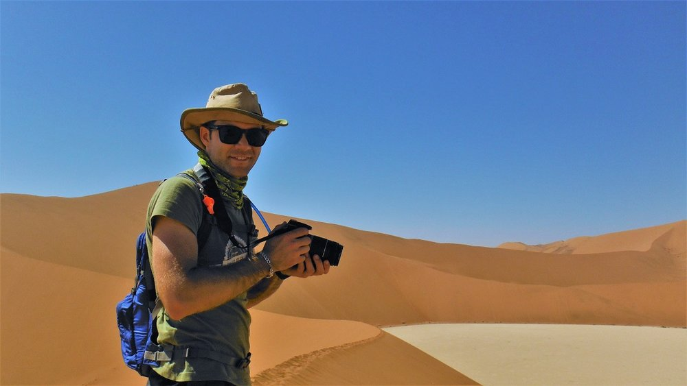 A rekindled love for photography...  Here I'm shooting in Namibia's picturesque  Sossusvlei with an old DSLR borrowed from a friend of mine (2016)