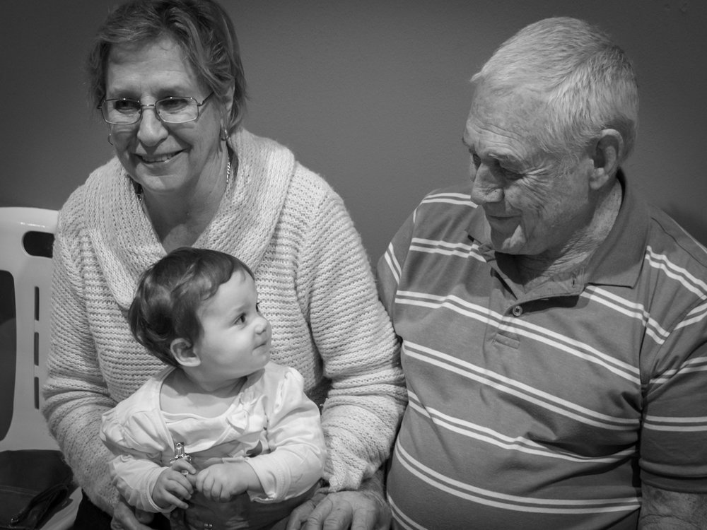 Lee-Ann with her great-grandparents on her 1st birthday.