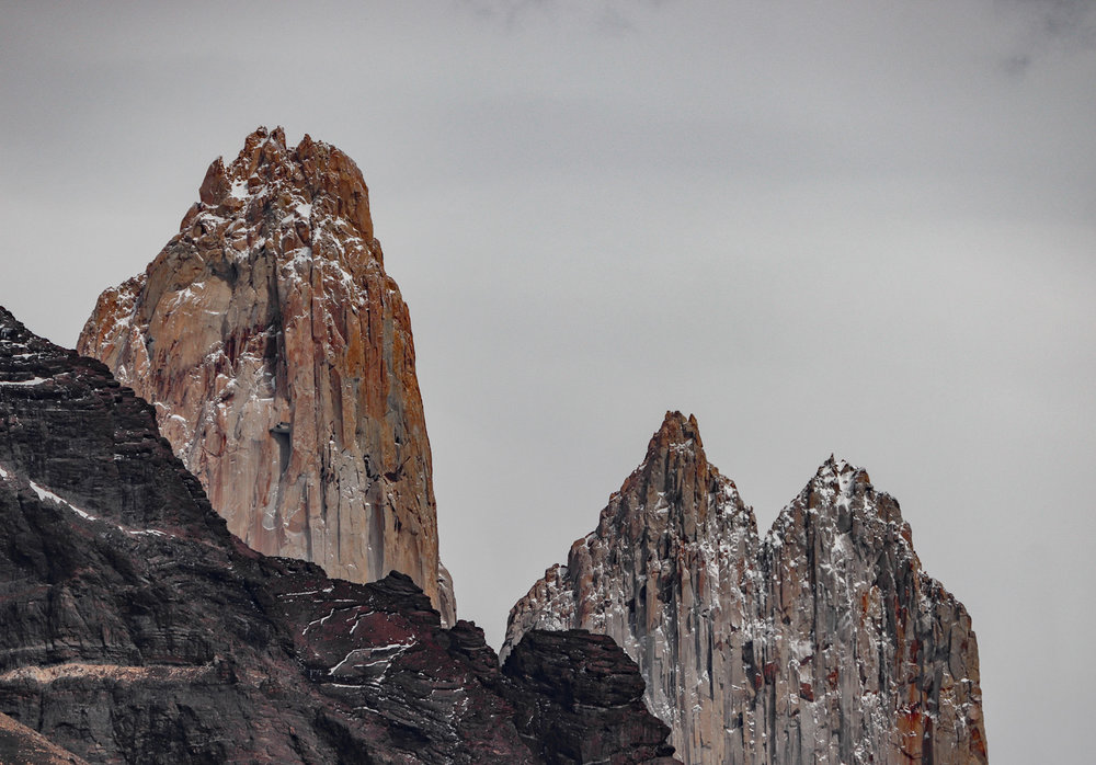 The darker parts of the image (the mountains) are counter-balanced and complimented here by the lighter parts (the open sky) in almost equal amounts. [Torres del Paine, Patagonia, Chile]
