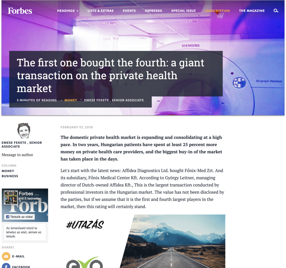 Forbes Article - Tearsheet Image - The first one bought the fourth_a giant transaction on the private health market - Photo by Ken Treloar.png