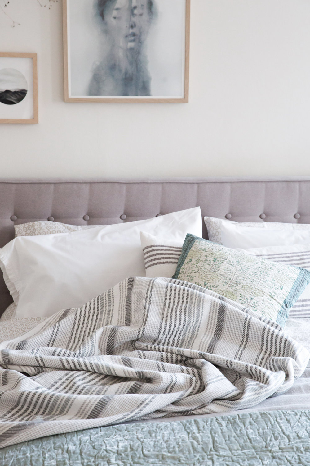 Great That is a decorating must have in a bedroom especially TEXTURE It us sensual and inviting Stacked near the right side of the bed you can see in