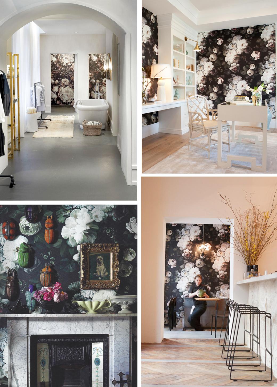 Black floral print wallpaper dark floral wallpaper by ellie cashman - Elliecashman3