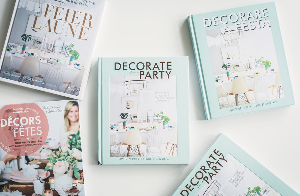 Decorate For A Party - Decorate For A Party, September 2016,  Jacqui Small/Quarto. Contains a host of exciting ideas separated into eight gorgeous styles showing flowers in relaxed, casual homes alongside those with some serious panache. Currently available in 5 co-editions. Book launch party was held at Anthropologie in London.Book tour included London, Victoria, Hamburg, Cologne, Amsterdam, Zurich, Berlin and Hannover. Photography: Leslie Shewring, Holly Becker, Holly Marder.