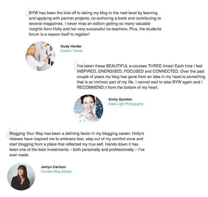 Blogging Your Way e-course testimonials