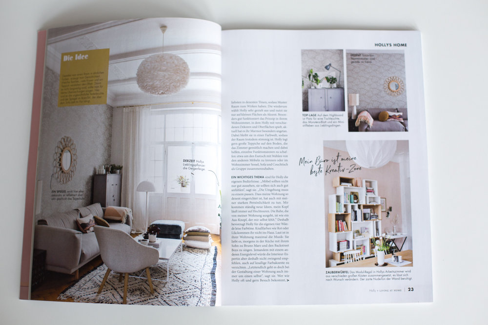 Holly Becker Living Room inside of magazine, Living At Home + Holly