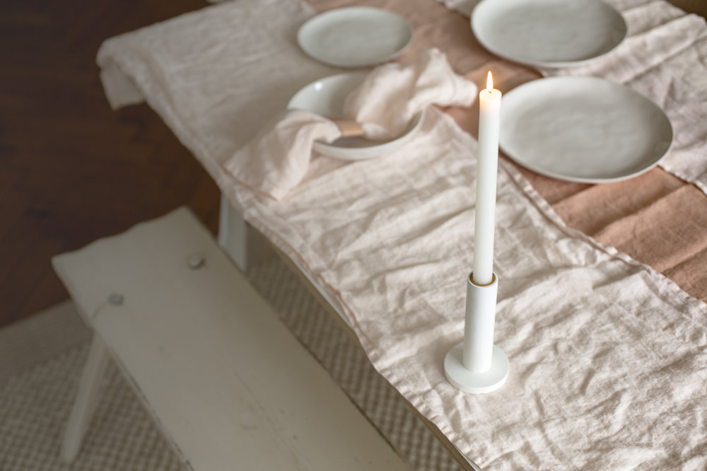 I love the simple, clean concrete candle holder.