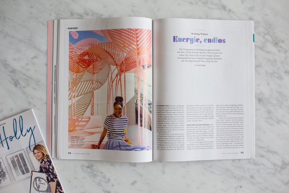 A column all about strong women in each issue, who have done great things, like my friend shown here in the debut issue- Jennifer Reaves, A German-American who is the CEO of BLICKFANG.