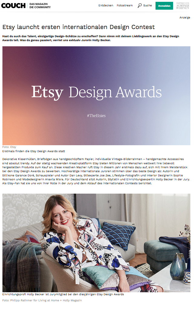 - German interview with me about The Etsy Design Awards in COUCH magazine