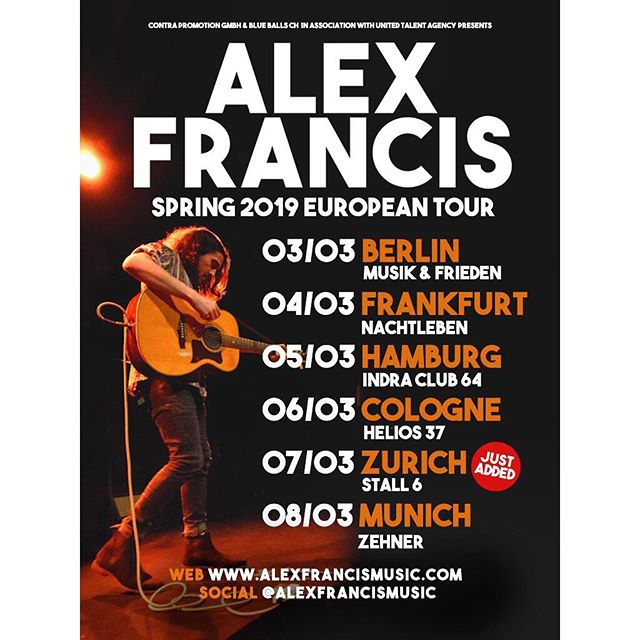 SWITZERLAND!🇨🇭Thrilled to be back in you on my Europe tour next March 🤘See you at @stall6 in #Zürich on 7/3! Merry Christmas! Xx