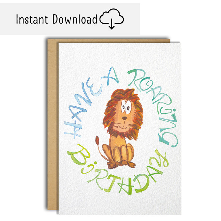 Have A Roaring Happy Birthday Instant Download Greeting Card Moncharis