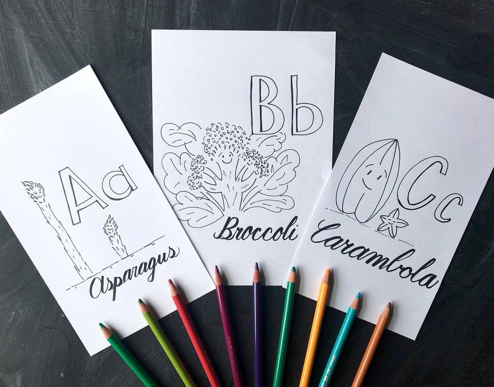 Fruit and vegetables alphabet prints. Nursery Moncharis.jpeg