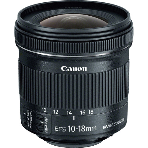Canon EF-S 10-18mm f/4.5-5.6 IS STM Lens - effective focal length on 70D = 16 - 28mm
