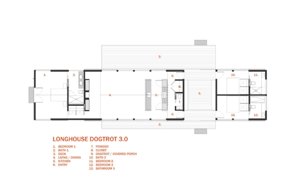 Longhouse dogtrot 3 0 schematic 30x40 design workshop for Modern long house plans