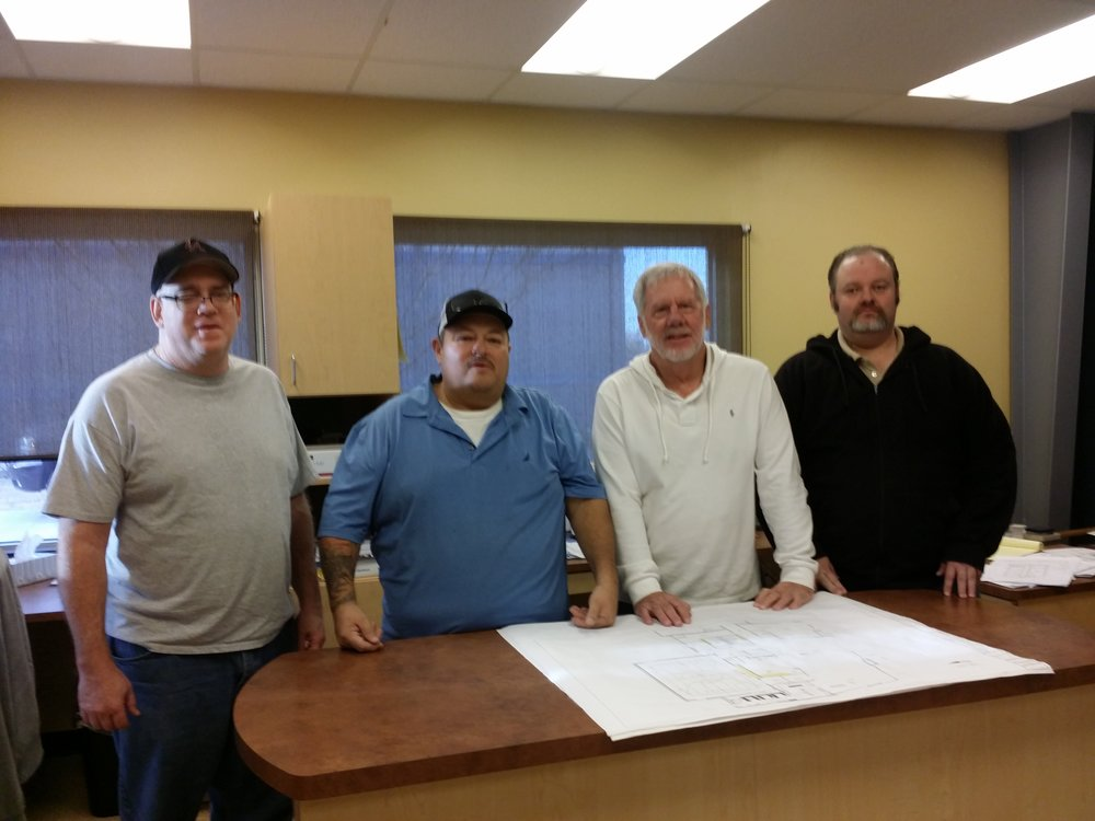 Jeff Embry (CAD Engineer), John Gonzales (Production Manager), Bob Cumming (Project Manager) and Mike Wilson (Pre-Construction Manager)