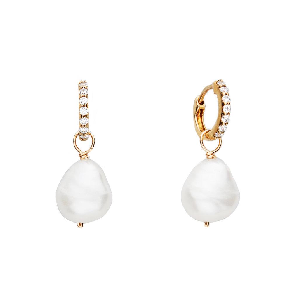Huggie Pearl Drop Earrings — Lily & Roo