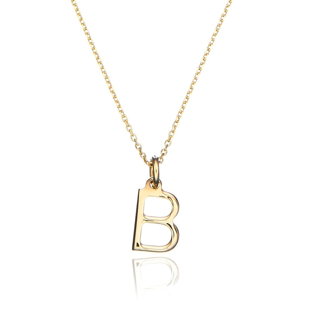 Solid gold initial letter necklace lily roo solid gold initial letter necklace aloadofball Choice Image