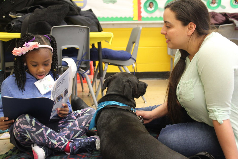 Second-grader Jamarie reads out loud to Certified Reading Assistance Dog, Lolu, and her owner, Ms. Soraya at Carver Elementary.