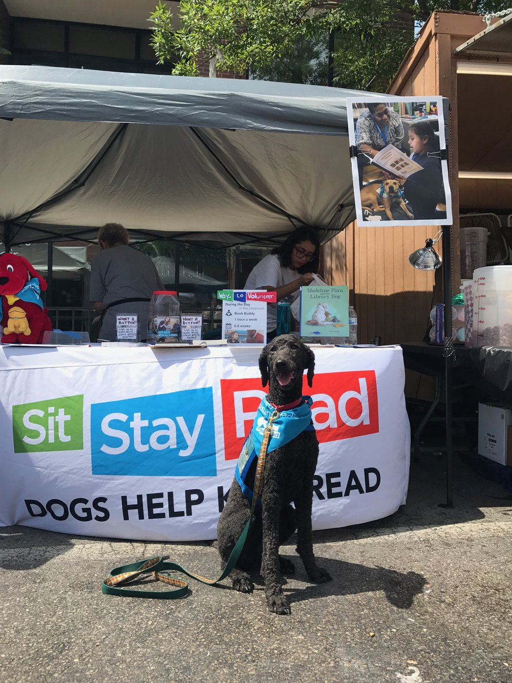 Certified Reading Assistance Dog Daisy poses in front of the SitStayRead booth. (L. Zucker)