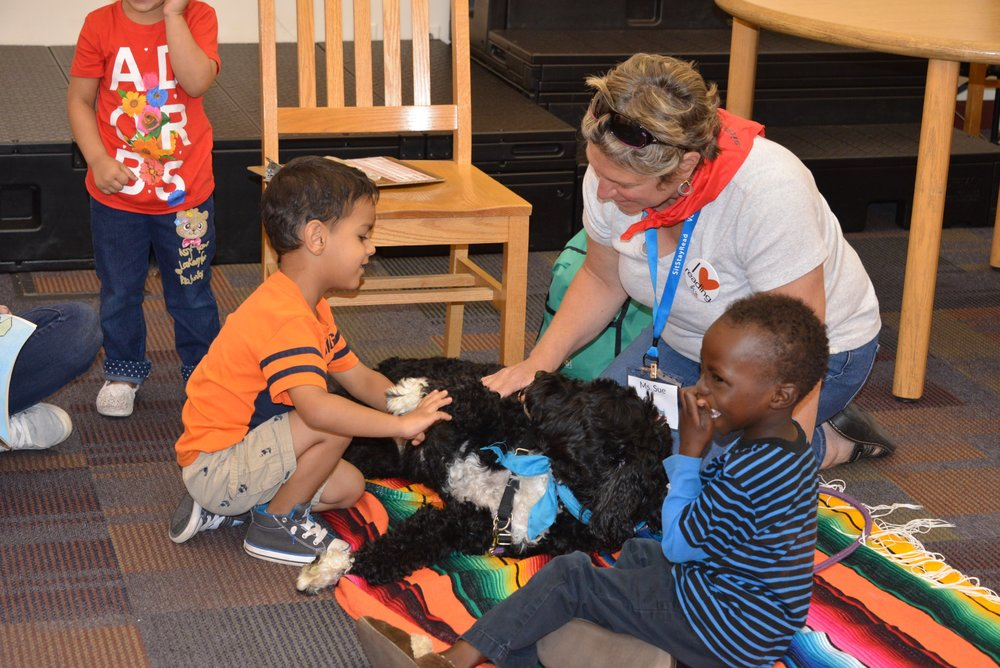 Dog Team volunteer Sue shows students how to pet Certified Reading Assistance Dog Macy.