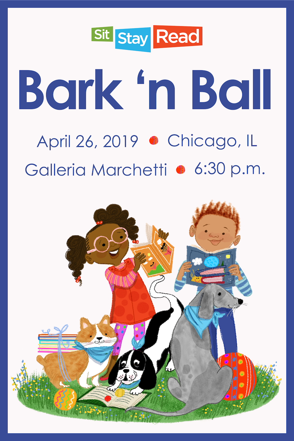 This year's Bark 'n Ball poster, designed by author and illustrator Vanessa Brantley-Newton!