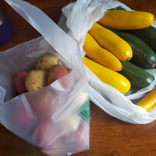 Yesterday E and I hit up the local farmers market. And with the in-laws here to keep her company, I'm whipping up a feast for some friends coming over- Crock-Pot chicken, red potato salad, zucchini sticks, bacon wrapped asparagus, and df/gf vanilla bean custard tart for dessert. I might need a nap after they leave!