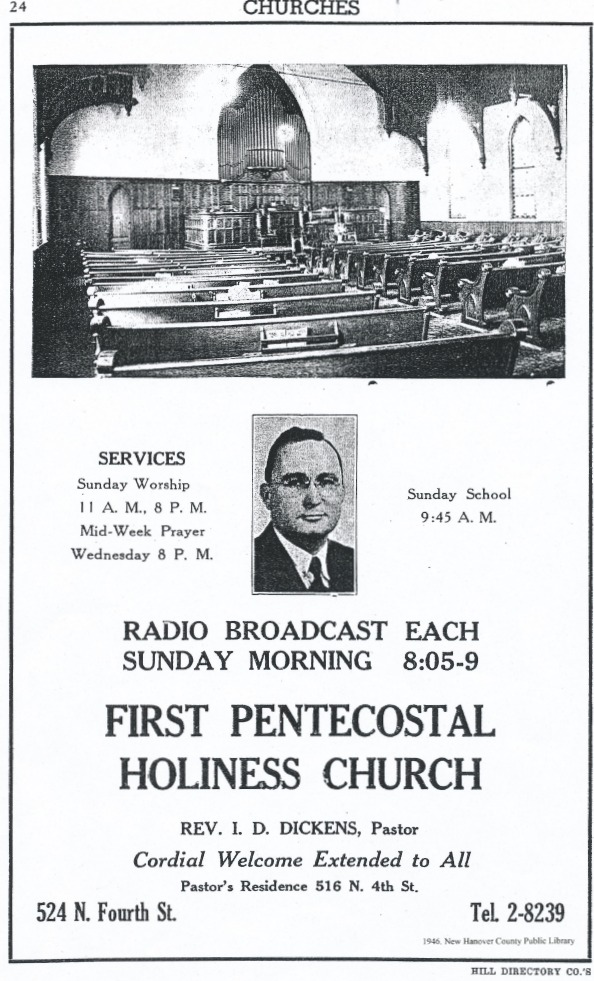 City Directory 1946  Photo Courtesy First Pentecostal Holiness Church