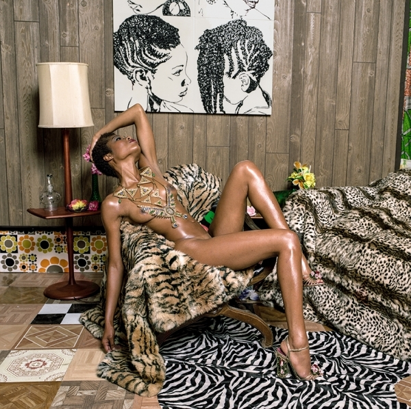 Mickalene Thomas, Liz and Chair with Zebra, 2015, C-print, 48 x 48 inches, edition of 5  image courtesy of Kavi Gupta Gallery, Chicago