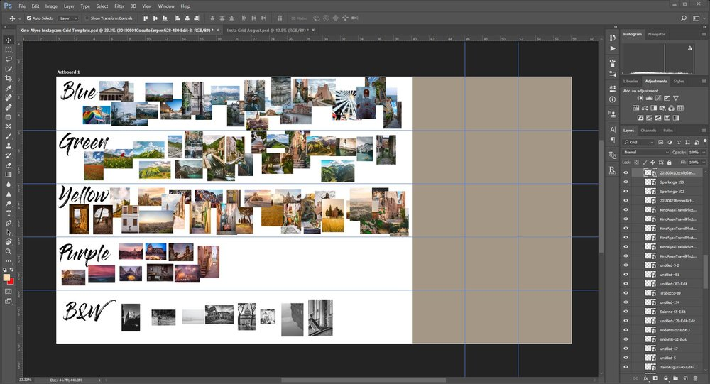I've separated my work based on color, but I will narrow down by color schemes and small color details and transition my grid based on that. As always, consider your brand!