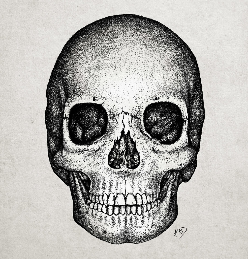 Skull in pointillism
