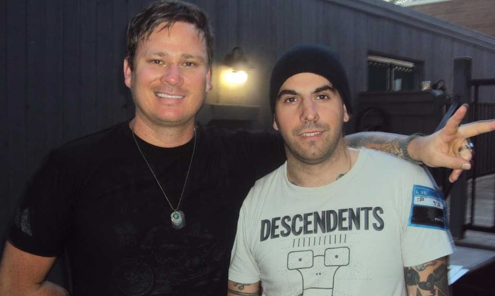 With Tom DeLonge at blink-182's 2011 tour.  (Mike Damante)