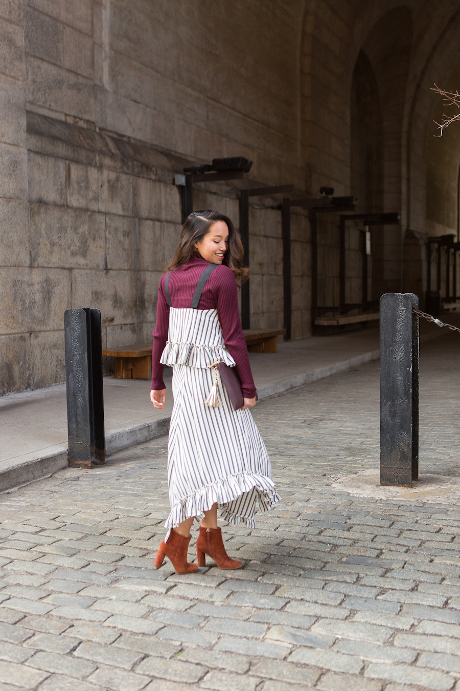 Melanie-Sutrathada-of-fashion-and-lifestyle-blog-Lace-and-Combat-Boots-styles-a-black-and-white-pin-stripe-ASOS-dress-over-a-burgundy-mock-neck-from-INC-International-Concepts..jpg