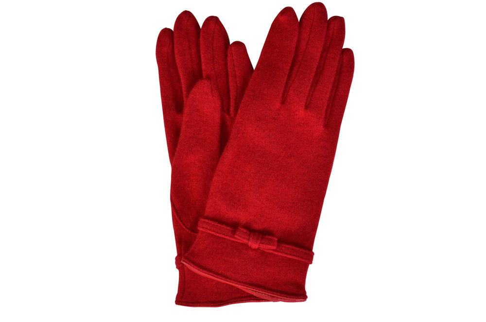Dal Dosso Italian Red Jersey Wool Gloves
