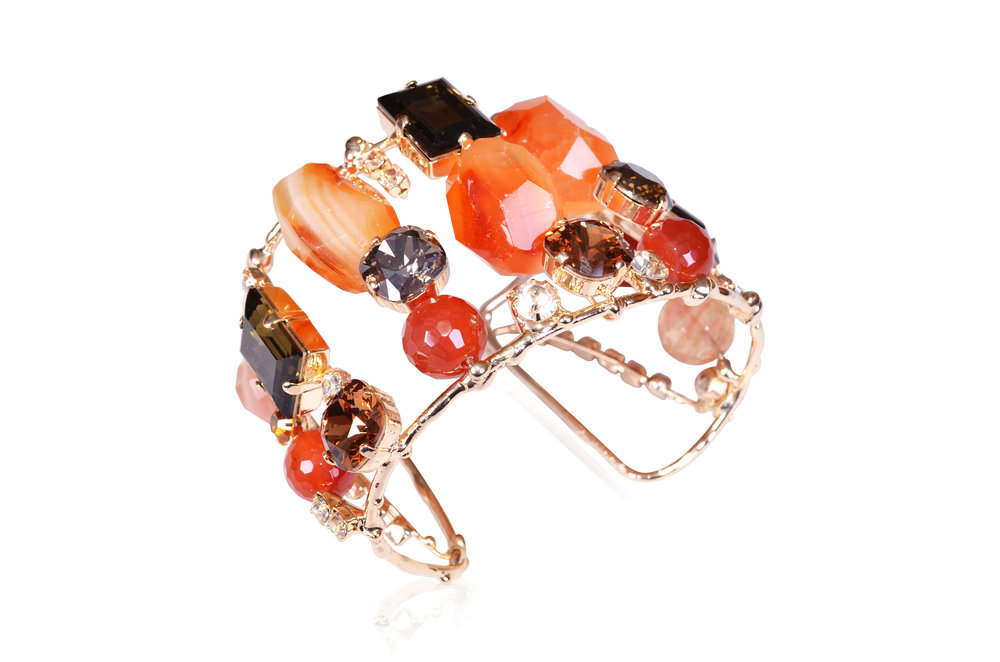 Evatini Italian Carnelian Stones Cuff Bracelet