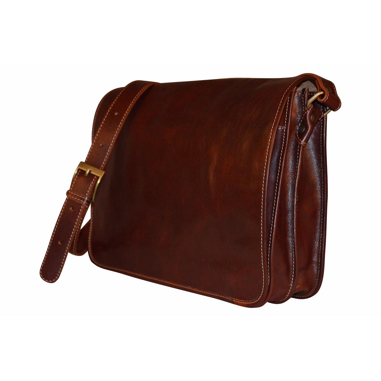 c6f7c82d84 Dark Brown Leather Unisex Messenger Bag — Bags   Arts