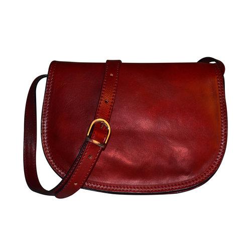 35c9961817e7 Genuine Italian Cherry Leather Classic Saddle Bag Style — Bags   Arts