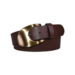 6330bc4c4 Wavy Gold Tone Buckle Italian Brown Leather Belt ...