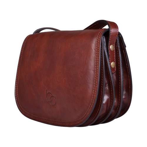 18995b0f4 Genuine Italian Dark Brown Leather Classic Saddle Bag Style — Bags ...