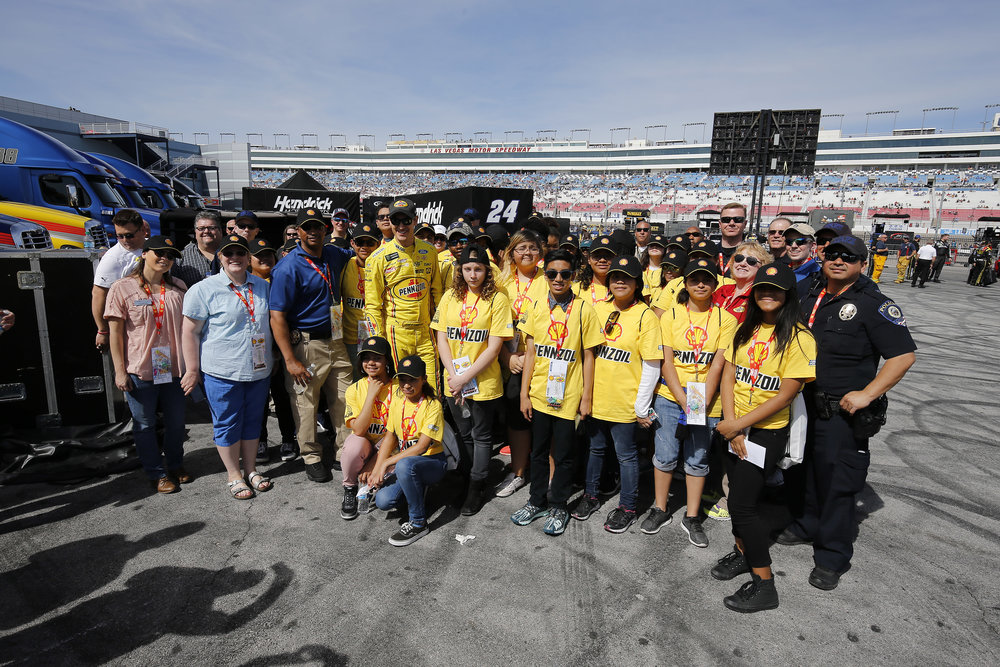 Shell Fuel For Success Participants meet up with Joey Logano before the race.