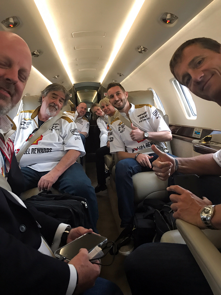 The Double guests on the plane from the Indy 500 to the Coca-Cola 600 on Sunday May 28, 2017.