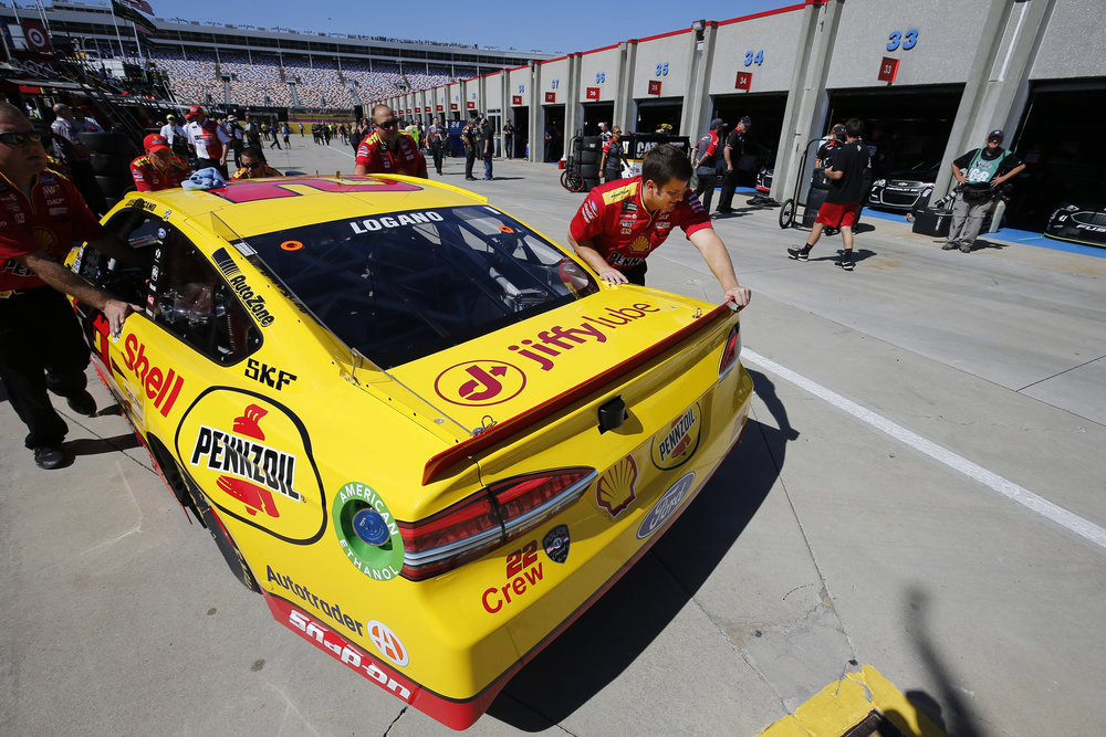 Jiffy Lube branding seen on the #22 Shell-Pennzoil Ford Fusion ahead of the Bank of America 500.