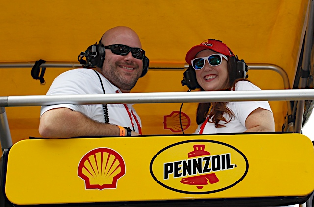 Guests from Penske Automotive Group watch the race from Joey Logano's Pit Box.