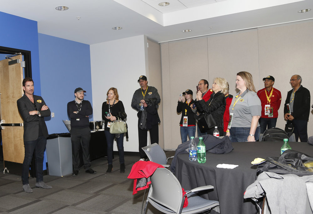 Dylan McDermott meets with guests in the Media Center