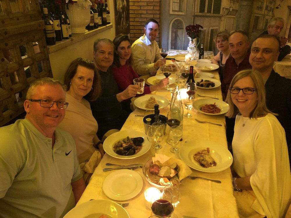 Our first group dinner together at a local Roman family restaurant, Osteria del Pegna.
